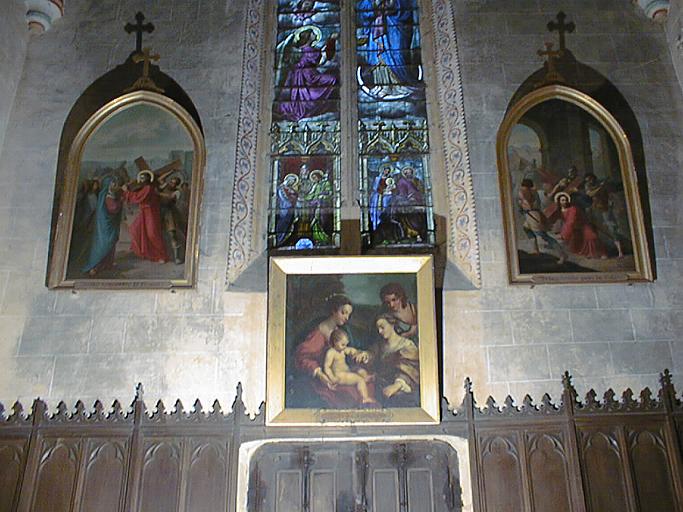 Tableau et son cadre : Le Mariage mystique de sainte Catherine d'Alexandrie avec saint Sébastien