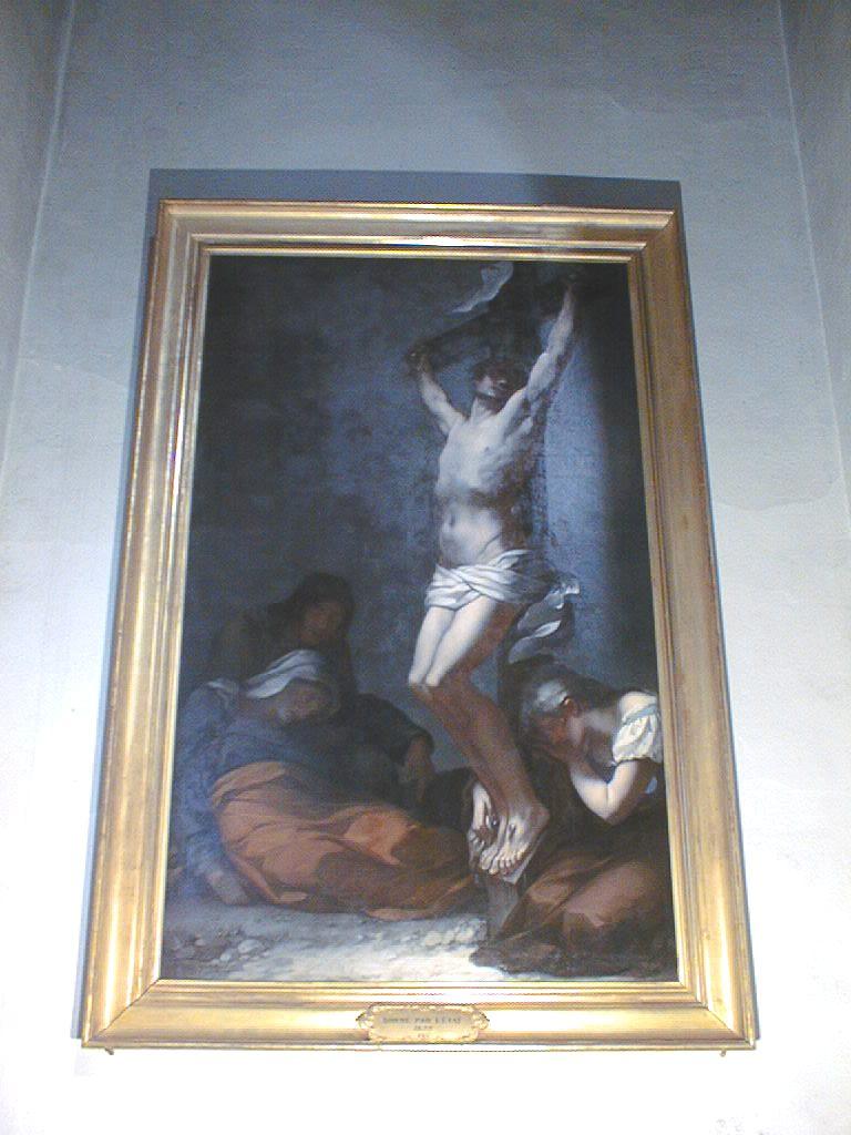 tableau et son cadre : Le Christ sur la croix. La Madeleine et la Vierge sont à ses pieds