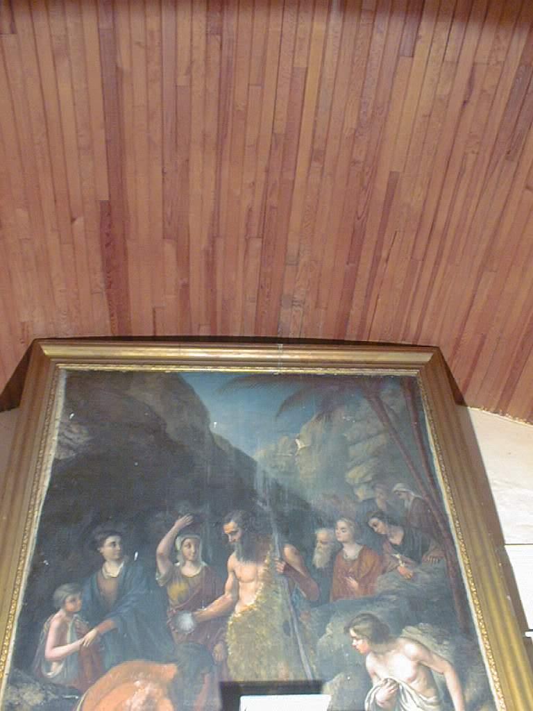 Tableau et son cadre : Saint Jean-Baptiste baptisant sur les rives du Jourdain