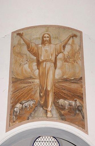 Paire de 2 tableaux (toile marouflée) formant pendant : Christ protégeant les labours, Offrande des moissons à la Vierge à l'Enfant dite La Vierge des Moissons