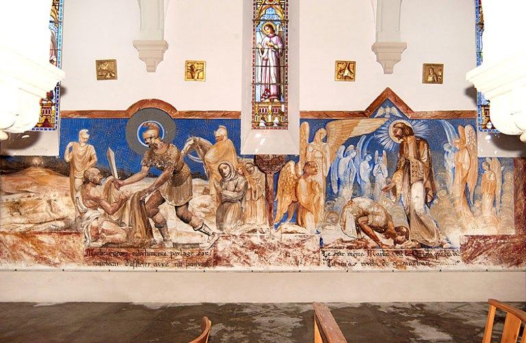 Peinture monumentale du bas-côté sud : Charité de saint Martin et Songe de saint Martin