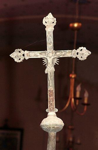 Croix de procession (n°1) : Christ en croix et Vierge à l'Enfant dite Vierge de l'Apocalypse