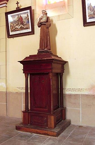 Ensemble du piédestal architecturé à usage de tronc et de sa statue (petite nature) : Saint Antoine de Padoue
