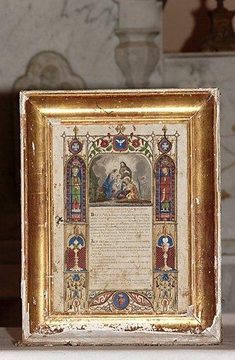 ensemble de 3 canons d'autel, de style néo-gothique et de leurs cadres : Sainte Famille adorée par les anges, Calvaire avec sainte Marie Madeleine