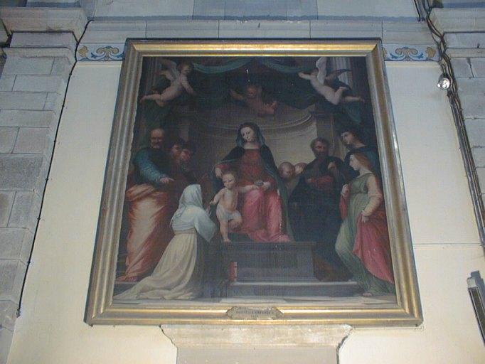 tableau et son cadre : Le Mariage mystique de sainte Catherine de Sienne, les saints Pierre, Vincent Ferrier, Etienne, Barthélemy, Dominique, François et deux autres saints