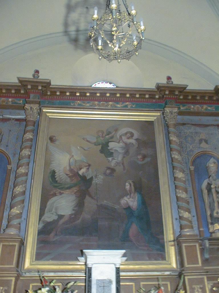 tableau d'autel et son cadre : La Salutation angélique