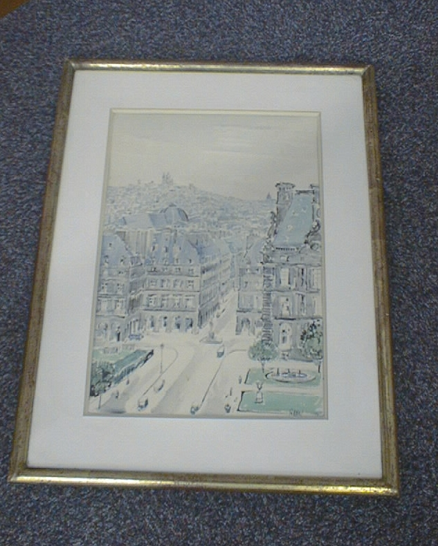 dessin (aquarelle) et son cadre : La Rue des Pyramides