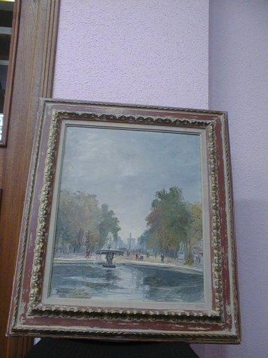 tableau et son cadre : Brume d'automne aux Tuileries