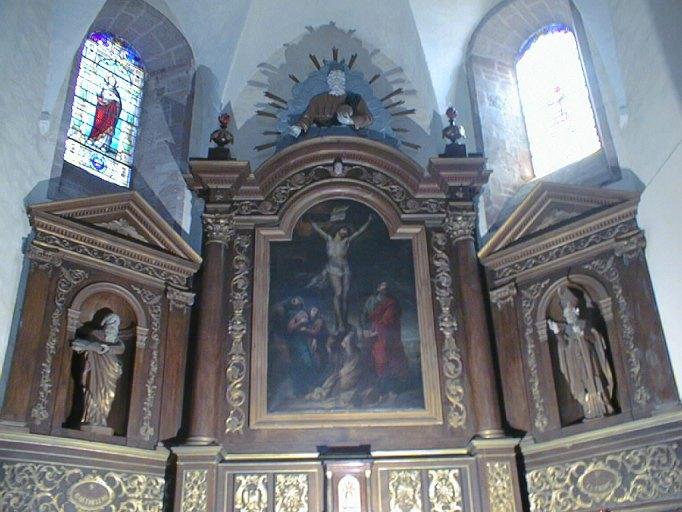 tableau d'autel et son cadre : Calvaire avec sainte Marie-Madeleine dit Le Christ en croix