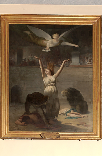 tableau et son cadre : Le Martyre de sainte Blandine