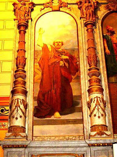 paire des tableaux d'autel latéraux du retable : Saint Pierre devant le lac de Tibériade, Saint Paul à Corinthe