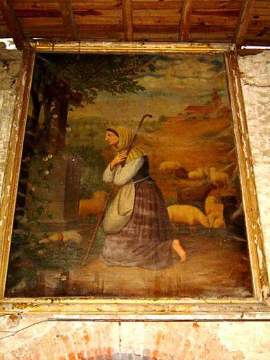 tableau et son cadre : Sainte Germaine de Pibrac priant devant une croix de chemin.
