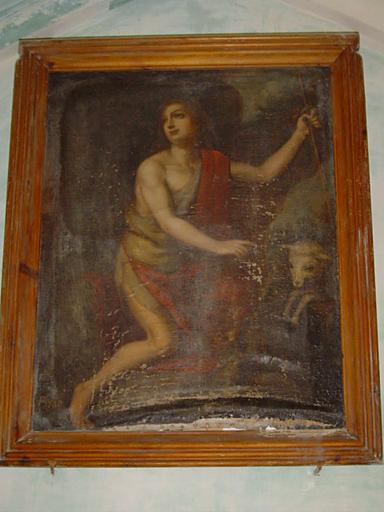 Tableau et son cadre : Saint Jean-Baptiste désignant l'Agneau de Dieu