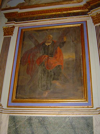 ensemble des 3 tableaux du retable du maître-autel et de leurs cadres : Calvaire, Saint André, Saint Cloud