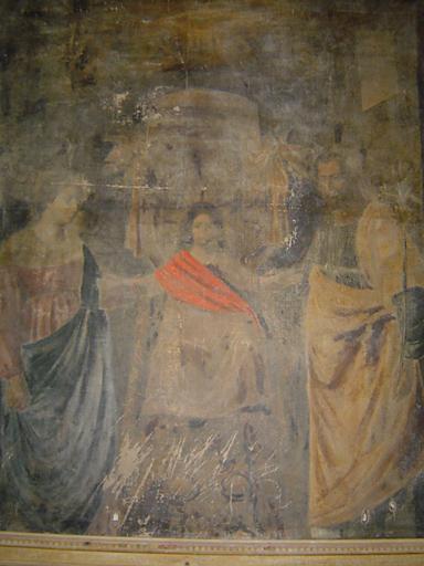 tableau et son cadre : Sainte Famille avec la Trinité