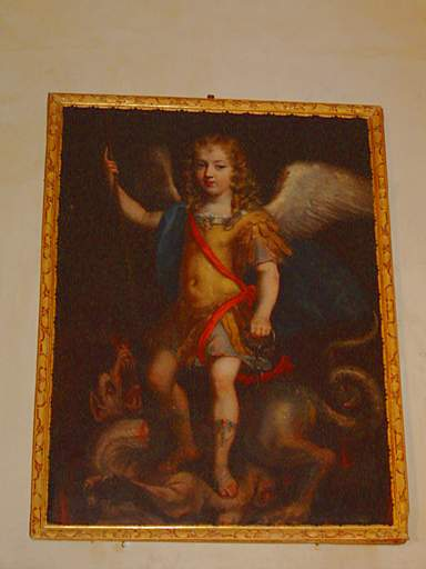 tableau et son cadre : Louis XIV enfant, en saint Michel terrassant le dragon de l'hérésie