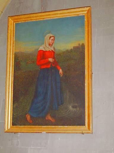 tableau et son cadre : Sainte Germaine de Pibrac et le miracle du Courbet
