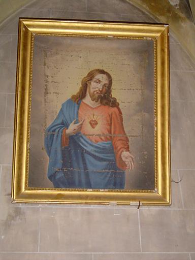 paire de tableaux et de leurs cadres formant pendant : Christ du Sacré-Coeur, Vierge du Sacré-Coeur