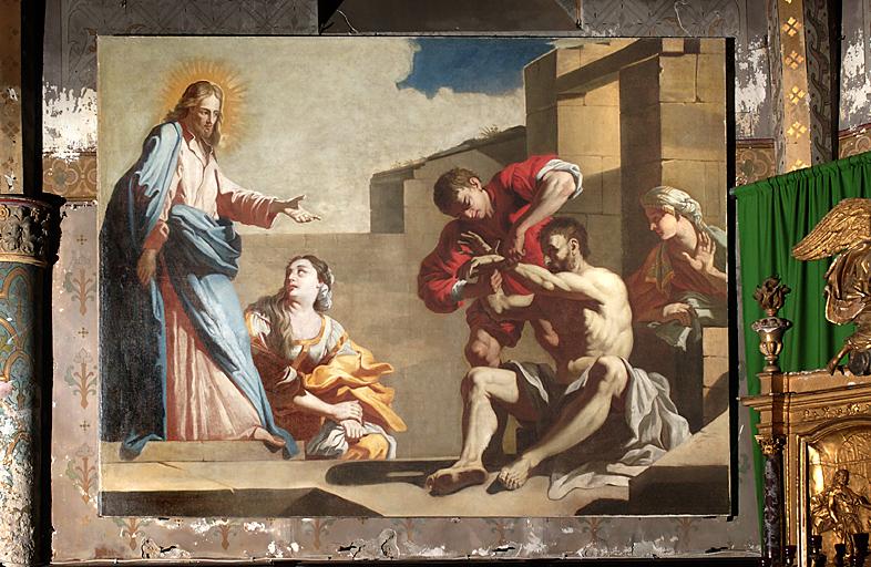 tableau et son cadre : Résurrection de Lazare