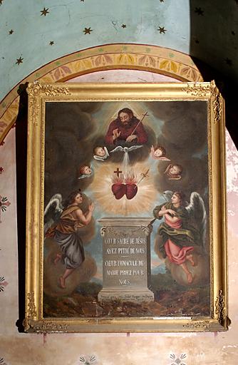 tableau et son cadre : Adoration du Sacré-Coeur du Christ et de la Vierge par des anges et la Trinité