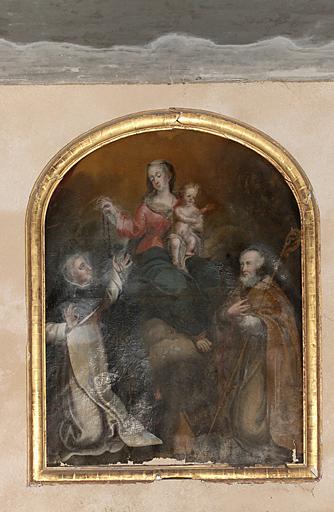 tableau et son cadre : Remise du Rosaire à saint Dominique en présence de saint Augustin d'Hippone (?)