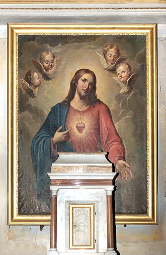 tableau d'autel et son cadre : Christ du Sacré-Coeur