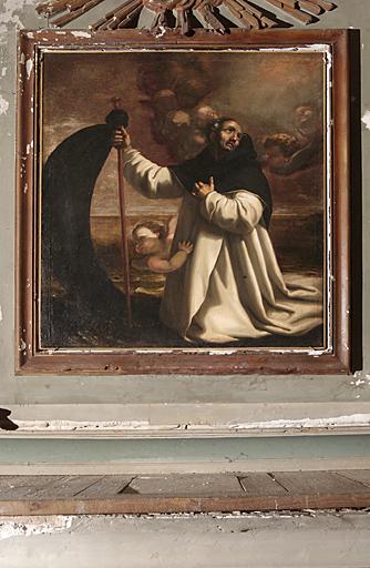 tableau d'autel et son cadre : La traversée de saint Raymond de Pényafort