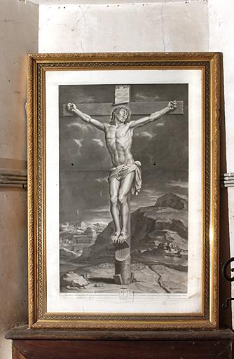 estampe et son cadre : Christ en croix