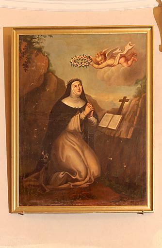 paire de tableaux formant pendant et de leurs cadres : Saint Joseph, Sainte Claire d'Assise (?)