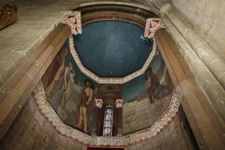 Peinture monumentale de l'absidiole sud : La Prédication de saint Jean-Baptiste
