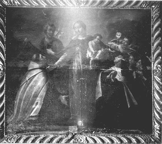 Tableau : Adoration de la Vierge à l'enfant par saint Jean de la croix et sainte Thérèse d'Avila