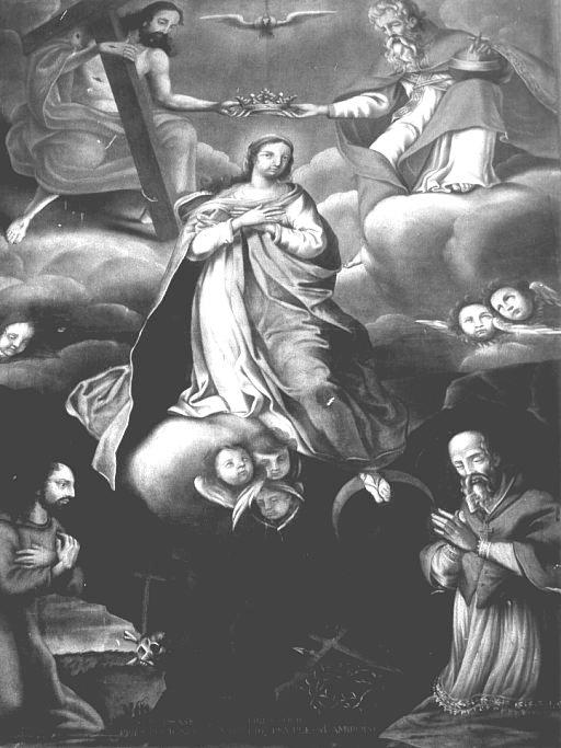 Tableau : Saint Naphaise et saint Ambroise de Cahors, Couronnement de la Vierge