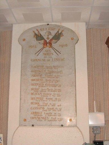 plaque commémorative des morts de la guerre de 1914-1918