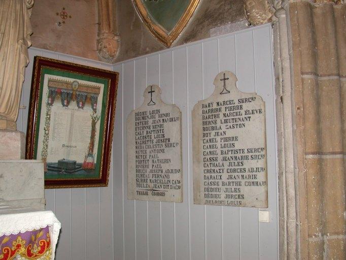 tableau et plaques commémoratives des morts de la guerre de 1914-1918