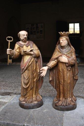 Statues de saint Pierre et de sainte Elisabeth de Hongrie en pendant
