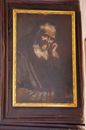 Tableau et son cadre : Vieillard barbu se tenant la tête (saint Evangéliste ?)