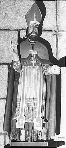 Statue (petite nature) : saint évêque (saint Blaise ?)