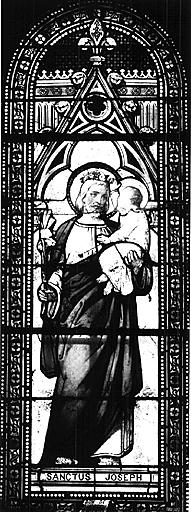Verrière (verrière historiée) : saint Joseph à l'Enfant Jésus