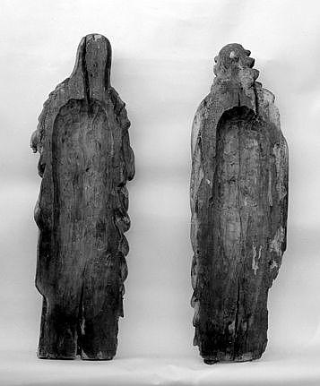 2 statues (petites natures, d'applique) : Vierge, saint Jean