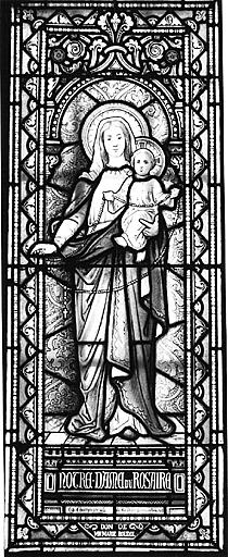 Verrière : Vierge à l'Enfant dite Notre-Dame du Rosaire