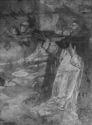 Tableau d'autel : la Remise du rosaire à saint Dominique de Guzman