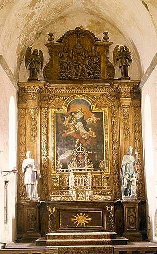 Ensemble du maître-autel (autel, 2 gradins d'autel, 2 tabernacles, retable, exposition, tableau)
