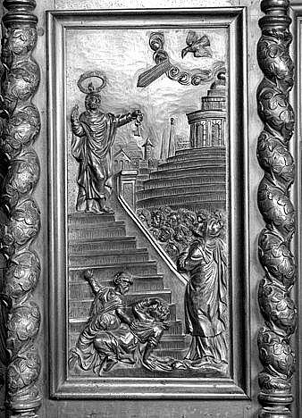 4 bas-reliefs : prédication de saint Pierre, saint Pierre en prison, saint Pierre délivré par l'ange, guérison du paralytique de Lydda