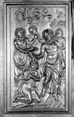 3 bas-reliefs : le baptême du centurion Corneille, la tempête apaisée, saint Pierre ressuscite la veuve Tabitha