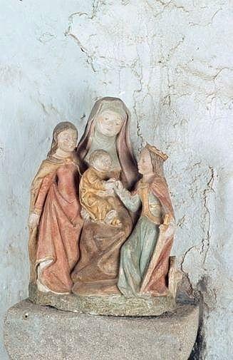 groupe sculpté : mariage mystique de sainte Catherine d'Alexandrie