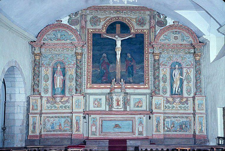 ensemble du maître-autel (autel, tabernacle, retable, tableau, croix, 2 statues)