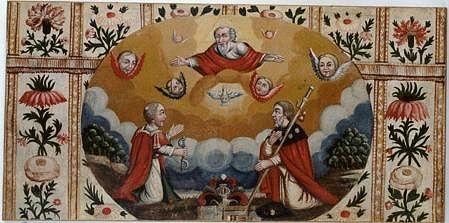 Antependium : adoration de Dieu le Père et de l'Esprit Saint par saint Léonard et saint Jacques le Majeur