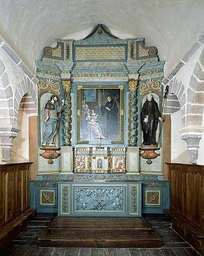 Ensemble du maître-autel (autel, tabernacle, retable, 2 statues)