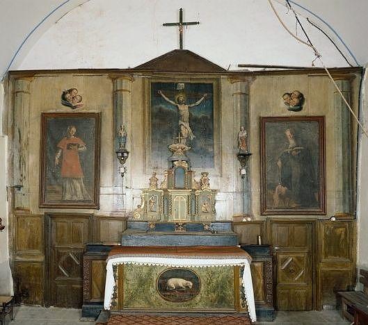 ensemble de 2 tableaux : saint Antoine abbé, saint Léonard