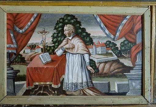 antependium : Jacques Mauclerc, curé de Beaumont, en prière